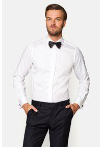 Lancerto - Koszula Biała Vera. Kolor: biały. Materiał: bawełna, jedwab, tkanina. Styl: wizytowy, klasyczny, elegancki