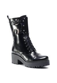 Czarne buty trekkingowe R.Polański z aplikacjami, z cholewką