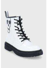 GOE - Workery skórzane. Nosek buta: okrągły. Kolor: biały. Materiał: skóra