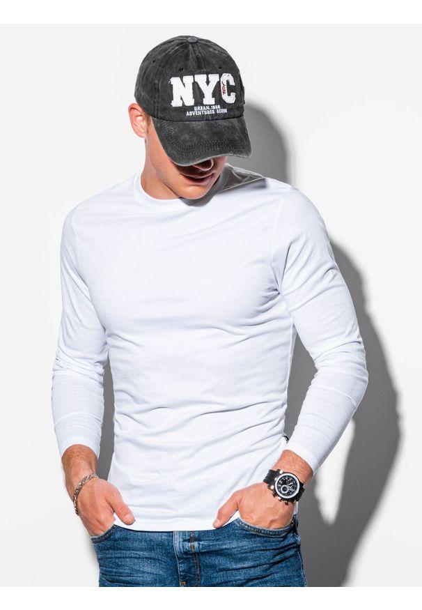 Ombre Clothing - Longsleeve męski bez nadruku L118 - biały - XXL. Typ kołnierza: kaptur. Kolor: biały. Materiał: bawełna. Długość rękawa: długi rękaw. Styl: klasyczny