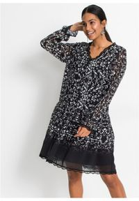 Czarna sukienka bonprix boho, z długim rękawem