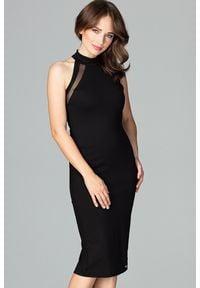 Lenitif - Wizytowa dopasowana sukienka z dekoltem halter neck czarna. Okazja: na imprezę. Typ kołnierza: dekolt halter. Kolor: czarny. Typ sukienki: ołówkowe, z odkrytymi ramionami. Styl: wizytowy