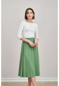 Marie Zélie - Spódnica Ariadna zieleń wiosenna. Materiał: dzianina, materiał, wiskoza, elastan, tkanina. Sezon: wiosna
