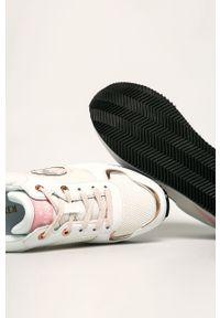 Białe buty sportowe Trussardi Jeans na średnim obcasie, na sznurówki