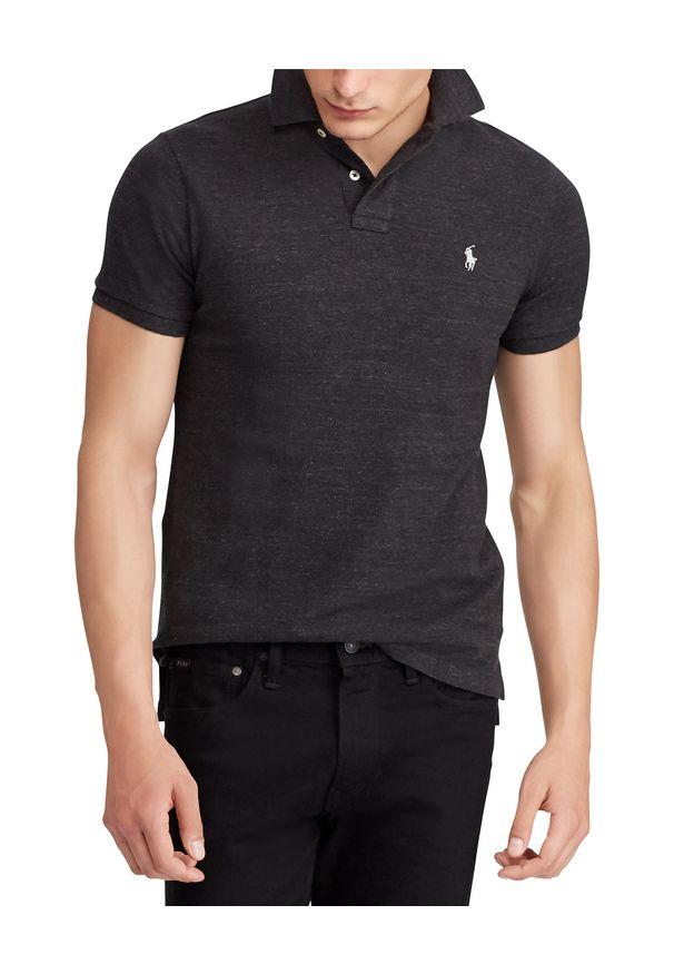 Ralph Lauren - RALPH LAUREN - Koszulka polo Slim Fit. Typ kołnierza: polo. Kolor: czarny. Materiał: bawełna, prążkowany. Wzór: haft