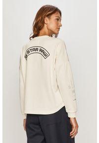 Kremowa bluza G-Star RAW z nadrukiem, z długim rękawem, długa