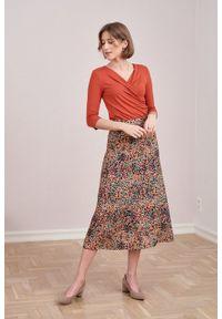 Marie Zélie - Spódnica Rachela Saxa beżowa. Kolor: beżowy. Materiał: bawełna, wiskoza. Wzór: gładki