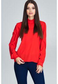 Czerwona bluzka z długim rękawem Figl ze stójką