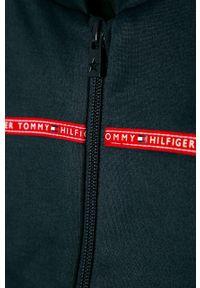 Niebieska bluza rozpinana TOMMY HILFIGER casualowa, bez kaptura, z aplikacjami