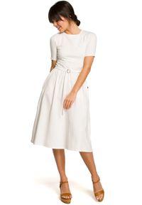 Sukienka midi, elegancka, z krótkim rękawem, rozkloszowana
