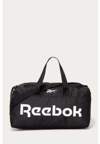 Czarna torba podróżna Reebok z nadrukiem