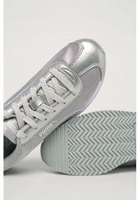 Srebrne buty sportowe Puma z cholewką, z okrągłym noskiem, na sznurówki