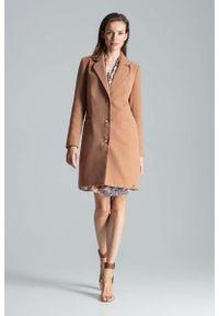 Beżowy płaszcz Figl na jesień