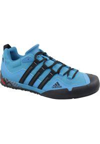 Niebieskie buty sportowe Adidas z cholewką, w kolorowe wzory