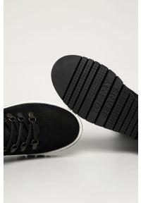 Czarne botki Tommy Jeans na sznurówki, z cholewką, bez obcasa