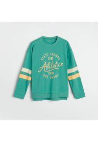 Reserved - Bawełniana bluzka z nadrukiem - Turkusowy. Kolor: turkusowy. Materiał: bawełna. Wzór: nadruk