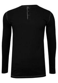 Czarny t-shirt Just Yuppi na co dzień, długi, z długim rękawem, casualowy