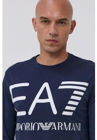 EA7 Emporio Armani - Longsleeve. Okazja: na co dzień. Kolor: niebieski. Długość rękawa: długi rękaw. Wzór: nadruk. Styl: casual