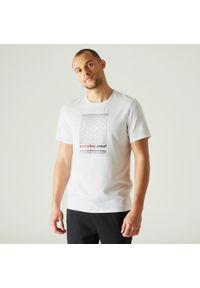 NYAMBA - Koszulka krótki rękaw fitness. Kolor: biały. Materiał: poliester, elastan, bawełna, materiał. Długość rękawa: krótki rękaw. Długość: krótkie. Sport: fitness