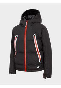 Czarna kurtka narciarska 4f z kapturem, na co dzień, na zimę, casualowa