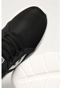 Czarne buty sportowe EA7 Emporio Armani na obcasie, z okrągłym noskiem, na średnim obcasie, z cholewką