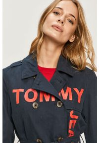 Niebieski płaszcz Tommy Jeans bez kaptura, casualowy, na co dzień