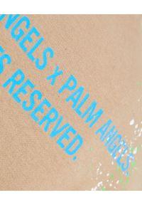 PALM ANGELS - Beżowy t-shirt z nadrukami. Kolor: beżowy. Materiał: bawełna. Wzór: nadruk. Styl: klasyczny
