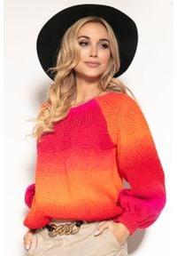 e-margeritka - Sweter kolorowy na wiosnę z szerokimi rękawami - l/xl. Materiał: wełna, poliakryl, materiał. Wzór: kolorowy. Sezon: wiosna