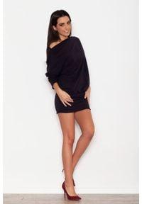 Katrus - Czarna Dzianinowa Sukienka z Nietoperzowym Długim Rękawem. Kolor: czarny. Materiał: dzianina. Długość rękawa: długi rękaw