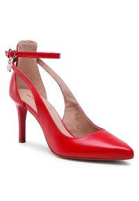 Czerwone półbuty Wojas na wysokim obcasie, eleganckie, na szpilce