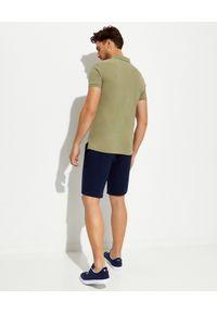 Ralph Lauren - RALPH LAUREN - Beżowa koszulka polo Slim Fit. Typ kołnierza: polo. Kolor: zielony. Materiał: bawełna, prążkowany. Wzór: haft