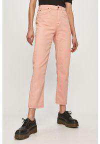 Pomarańczowe proste jeansy Lee gładkie