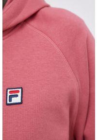 Fila - Bluza. Typ kołnierza: kaptur. Kolor: różowy. Materiał: bawełna. Długość rękawa: raglanowy rękaw