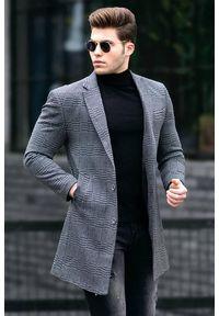Szary płaszcz IVET elegancki, w kratkę
