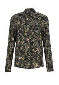 TOP SECRET - Koszula długi rękaw damska w kwiaty. Kolor: czarny. Materiał: materiał. Długość rękawa: długi rękaw. Długość: długie. Wzór: kwiaty. Sezon: wiosna