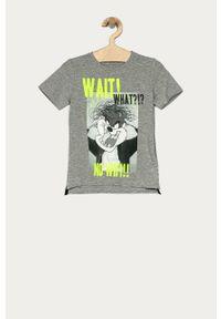 Szary t-shirt Name it z nadrukiem, na co dzień, casualowy