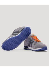 Hogan - HOGAN - Szare sneakersy H383. Nosek buta: okrągły. Zapięcie: sznurówki. Kolor: szary. Materiał: guma, materiał