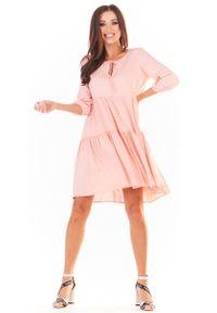 Awama - Sukienka Mini w Stylu Boho - Pudrowa. Materiał: wiskoza, elastan. Styl: boho. Długość: mini