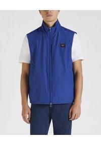 PAUL & SHARK - Niebieska kamizelka żeglarska. Kolor: niebieski. Materiał: tkanina, jeans. Długość rękawa: bez rękawów. Styl: klasyczny