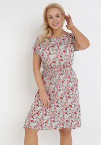 Born2be - Miętowo-Różowa Sukienka Grynaris. Kolor: miętowy. Materiał: materiał. Wzór: kwiaty, aplikacja. Typ sukienki: proste. Długość: mini