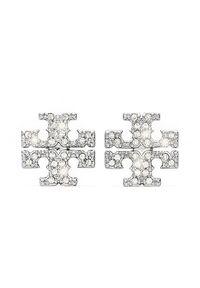 Tory Burch - TORY BURCH - Kolczyki z kryształami Kira. Kolor: srebrny. Wzór: aplikacja. Kamień szlachetny: kryształ