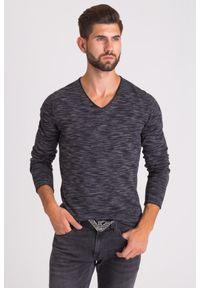 Czarny sweter JOOP! Jeans z klasycznym kołnierzykiem, melanż, klasyczny