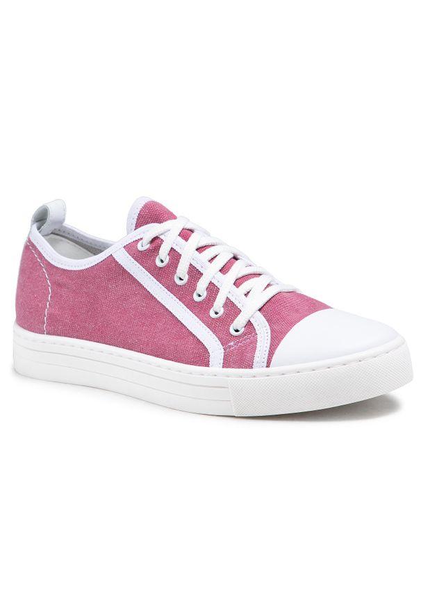 Nessi - Tenisówki NESSI - 21021 Róż. Kolor: różowy. Materiał: skóra, materiał. Obcas: na płaskiej podeszwie. Styl: elegancki, sportowy