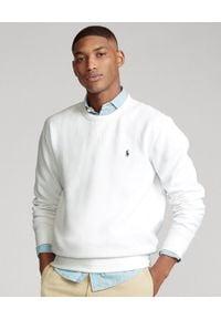 Ralph Lauren - RALPH LAUREN - Biała bluza z bawełny. Typ kołnierza: bez kaptura, polo. Kolor: biały. Materiał: bawełna. Wzór: haft, aplikacja. Styl: klasyczny