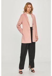Różowy płaszcz TOMMY HILFIGER bez kaptura, gładki, na co dzień, casualowy