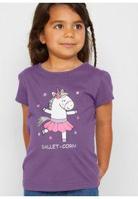 T-shirt dziewczęcy (2 szt.) bonprix ultrafioletowy + morski turkusowy. Kolor: fioletowy