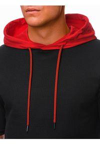 Ombre Clothing - Bluza męska z krótkim rękawem B1221 - czarna/czerwona - XXL. Okazja: na co dzień. Kolor: czerwony. Materiał: bawełna, elastan. Długość rękawa: krótki rękaw. Długość: krótkie. Wzór: aplikacja, melanż. Styl: casual, klasyczny, sportowy #3
