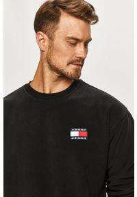 Czarna bluza nierozpinana Tommy Jeans z okrągłym kołnierzem, z aplikacjami