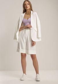Renee - Białe Bermudy Evithertise. Kolor: biały. Materiał: tkanina. Wzór: jednolity