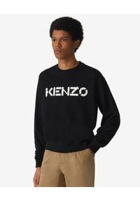 Kenzo - KENZO - Czarna bluza z logo. Okazja: na co dzień. Kolor: czarny. Materiał: sztruks, bawełna. Długość rękawa: długi rękaw. Długość: długie. Wzór: nadruk, aplikacja. Styl: klasyczny, sportowy, casual